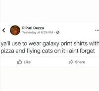 Cats, Pizza, and Galaxy: PİPuri Dezzu  Yesterday at 6:24 PM.  yall use to wear galaxy print shirts with  pizza and flying cats on it i aint forget  Share  b Like