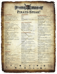 "Bones, Crazy, and Disney: PIRATES GRİBBEAN  ON STRANGER TIDES  PIRATE-SPEAK!  CURRENCY  Blunt slang for money or coin  Cob or Cob Dollars-gold doubloons  Doubloon-Spanish or Aztec Gold  Pieces of Eight Silver Spanish coirn  TREASURE:  EXPRESSIONS:  Batten down the hatches"" -were  expecting adverse conditions!  ""Bum-squabbled""- to be bafled  Loot  Swag  Wracking trade-diving for sunken  ""By and large  ""Cracking a bottle-Lets open a bottle  most  FOODS:  Bunny Grub-vegetables  Burgoo a vile mash of boiled onmeal  with salt, sugar and butter  Cackle-Fruit-  Dogsbody-sea biscuit soaked in water  EXCLAMATIONS  Blimey-to be surprised  ""Dead as bilge water"" -rotting dead  ""Devil to pay""-seeing no clear way out  of a situation  ""Eye of the wind"" - the direction in  which the wind is coming from  ""Feeling blue""-a ship without a captain  flew a blue flag when returning to port  Gone by the board"" -anything lost  over the side of a ship  ""Harp up in a clinch and no knife  to cut the seizing's""- in a dificult a  uyed up-to be uplifted  Clear the deck-prepare for battle  Land Ahoy- to see land  Methinks-I believe  ink me-to be surprised  Aye or Aye, aye, sir!.or, Arr -yes  Grog- Rum diluted w/ water  Grub  Hardtack a hard flour &water biscuit  Loblolly Porridge or gruel  Poor John-salted and dried fish  Rum-a preferred drink of pirates  Salmagundi- a particularly spicy soup  Spirits -hearty beverages  Splice the mainbrace-to have several  PUNISHMENTS:  Bite the Bullet-to stop the screaming  from any puni  manadles  Feed the Fish - being thrown into the  Clap in irons-coufined to iron  Davy Jones'Locker-a watery grave  I have the clywobbles- to be  ""I'll see you measured for chains""  a particularly nasty threat feared by pirates  ""In due course-something will happen  when it should happen  Keep a weather eye open""-keep a  sea  Tack  Tooth Rot-sugar  Flogging-a short whip with a cat-o  nine-tails attached at the end  llows Dance-the dangling feet of a  ERIENDS  nnat  Keelhaul-tying wrists & ankles, tossing eye on where the trouble might come from  overboard then dragging under  the keel of the ship  Kiss the Gunner's Daughter to be  bent over a ship's guns and flogged  Kiss the Wooden Lady-to be tied up  wl arms 'round the mast  Maroon-abandoning an offender on a  remote island  Ropes End -referencing a hanging-to""Sweet Trade""-a pirate's profession  meet the rope's end  Sweating- being forced to run around  the ship until you dropped while crew  utilized various sharp objects 'encouraging  ""Rattle the bones  to shake the dice  ate  or gambling with cards & dice  ""Shake a cloth in the wind"" to be  slightly tipsy or drunk  ""Shiver me timbers- to be very  Me Hearties  INSULTS:  Addled-crazy  Bilge Rat  Bilge-sucking-an uncomplimentary  Sink Me!"" to be very  ""Stay the Course- a nautical term to  not vary from the intended destination  Dog  Landlubber-land lover  Lubber - a clumsy man  Poxy, poxed-to be diseased  Scurvy Dog  Shark Bait  ""Tell it to the parrot"" -to tell everyone,  spreading gossip  Three Sheet To The Wind"" - to be  ""Yo Ho Ho"" a very piratey thing to say  Walking the Plank  drop off the plank  walkurtifyom  fermm for a seaP  *  + ◇拳杏橤  O 2011 Disney"