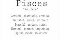 Introvert, Humble, and Dreamers: PiS C e S  We Care  Artistic, charitable, creative  Dedicated, humble, introvert,  Peaceful, serious, timid,  Mystical, dreamer, imaginative,  Impressionable, idealistic