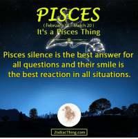 Best Reaction: PISCES  ch 20)  Februar  It's a  Pisces Thing  Pisces silence is the best answer for  all questions and their smile is  the best reaction in all situations.  odiacThing.com