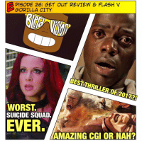 Memes, Thriller, and The Flash: PISODE 26: GET OUT REVIEW & FLASH V  GORILLA CITY  BEST THRILLER OF 2017?!  WORST.  SUICIDE SQUAD.  EVER.  AMAZING CGI OR NAH? 🚨 [ PODCAST LINK IN BIO] This week on BlerdVision I give a spoiler-free review for the new, hit thriller: GetOut! Did @jordanpeele knock his directorial and writing debut out of the park? The only spoiler I'll give is: HELL yes! -- Then we cover all things DCTV from last week - most notably the Flash vs GorillaCity episode! Were they able to pull off some of the most ambitious CGI on network television? Tune in to find out! This episode is bananas, yo... okay. I'll leave. 😂 -- Don't forget to subscribe to us on iTunes and leave a review! We read them aloud on the show! AND COMMENT BELOW! We love hearing your opinions!