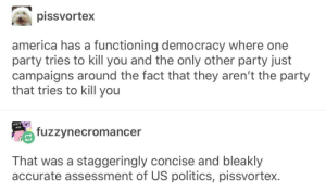America, Party, and Politics: pissvortex  america has a functioning democracy where one  party tries to kill you and the only other party just  campaigns around the fact that they aren't the party  that tries to kill you  SERVE  MAN  fuzzvnecromancer  That was a staggeringly concise and bleakly  accurate assessment of US politics, pissvortex. Democracy at its finest