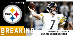 Ben Roethlisberger, Memes, and Pittsburgh Steelers: PITTSBURGH  Steelers  BREAKIN  STEELERS EXTENDING  BEN ROETHLISBERGER Steelers, QB Ben Roethlisberger finalize contract extension through 2021 season. (via @RapSheet) https://t.co/JKKNmUt3Fz