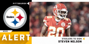 Memes, News, and Pittsburgh Steelers: PITTSBURGH  Steelers  NEWS  ALERT  STEELERS TO SIGN  STEVEN NELSON .@steelers signing CB Steven Nelson (@Nelson_Island) to three-year, $25.5 million deal.  (via @RapSheet) https://t.co/TnSjrJbx0z