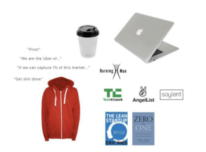 """The 'Check out my kickstarter' starter pack: """"Pivot""""  """"We are the Uber of...""""  """"If we can capture 1 % of this market....  BurningMan  """"Get shit done""""  TC  soylent  TechCrunch  AngelList  THE LEAN  STARTUP ZERO  ONE  TO  PiThie  ERIC KIES The 'Check out my kickstarter' starter pack"""
