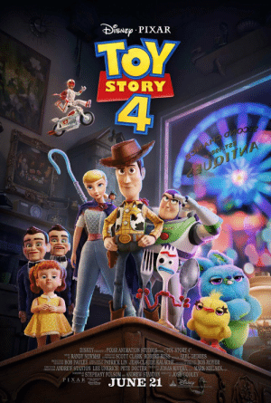 Disney, Dogs, and Newman: PIXAR  TOY  4  STORY  CECOMD CH CE  Ber Tes  NTYEAR  DISNEY ESENTSPIXAR ANIMATION STUDIOS TOY STORY 4  M RANDY NEWMAN SCOTT CLARK ROBERT RUSS  PROOKCTON BOB PAULEY PATRICK LIN JEAN-CLAUDE KALACHE BOB MOYER  FAS ANDREW STANTON LEE UNKRICH PETE DOCTER oJONAS RIVERA MARK NIELSEN.  SCEN STEPHANY FOLSOM ANDREW STANTON JOSH COOLEY  JUNE 21  AXEL GEDDES  PIXAR  DisNEp  ar y Near the top left of the 'Toy Story 4' poster, you can see the dogs from 'Up' playing poker.