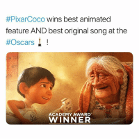 COCO 👏🏾👏🏻👏🏿👏🏽👏🏾👏🏻👏🏿👏🏽 oscars:  #PixarCoco wins best animated  feature AND best original song at the  #Oscars! !  ACADEMY AWARD  WINNER COCO 👏🏾👏🏻👏🏿👏🏽👏🏾👏🏻👏🏿👏🏽 oscars