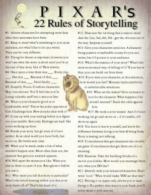 "duamuteffe:illesigns: Pixars 22 Rules of Story Telling  9 is worth the price of admission, holy crap. : PIXAR's  22 Rules of Storytelling  #12: Discount the Ist thing that comes to mind.  #1: Admire characters for attempting more than  what their successes have been.  And the 2nd, 3rd, 4th, 5th - get the obvious out of  the way. Surprise yourself.  #2: Keep in mind what's interesting to you as an  audience, not what's fun to do asa wniter.  #13: Give your characters opinions. A chanacter  They can be very different.  being passive or malleable is casy for you as a  #3: Trying for theme is important, however you  writer, but it's poison to your audience.  #14: What's the essence of your story? What's the  won't sce what the story is about until you're at  the end of that story. Got it? Now rewrite.  #4: Once upon a time there was Every day,  One day Because of that,  Becau se of that, Until finally  most economical way of telling of it? If you know  that, you can build out from there.  #15: If you were your character, in this situation,  how would you feel? Honesty lends credibility  #5: Simplify. Focus. Combine characters.  to unbelievable situations.  Hop over detours. You'll feel like you're  losing valuable stuff but it sets you free.  #6: What is your character good at or  comfortable with? Throw the polar opposite at  him. Challenge him. How does he deal with it?  #16: What are the stakes? Give us reason to  root for the character. What happens if he  doesn't succeed? Stack the odds against  him.  #17: No work isever wasted. And if it's not  #7: Come up with your ending before you figure  working, let go and move on – if it's useful, itll  show up again.  #18: You have to know yoursclf, and know the  difference between doing your best & being fu ssy.  out your middle. Seriously. Endings are hard. Get  yours working up front.  #8: Finish your story. Let go even if it's not  perfect. In an ideal world you have both, but  move on. Do better next time.  #9: When you're stuck, make a list of what  Story is testing, not refining.  #19: Coincidences that get characters into trouble  are great. Coincidences that get them out of it is  wouldn't happen next. More often than not, the  material that gets you unstuck appears.  #10: Pull apart the stories you like. What you  cheating.  #20: Exercise. Take the building blocks of a  movie you dislike. How would you rearange them  like in them is a part of you. Recognize it before  into what you DO like?  #21: Identify with your situation/characters. Don't  you use it.  #11: Why must you tell this story in particular?  What's the belief burning within you that your  write ""cool."" What would make YOU act that way?  #22: Putting it on paper only allows you to start  fixing it. If a perfect idea stays in your head, you'll  story feeds off of? That's the heart of it.  never share it with anyone.  Gesnhic by Chevisses Stedios duamuteffe:illesigns: Pixars 22 Rules of Story Telling  9 is worth the price of admission, holy crap."