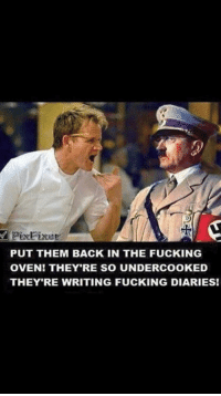"Dank, Fucking, and Meme: PixFixer  PUT THEM BACK IN THE FUCKING  OVEN! THEY'RE SO UNDERCOOKED  THEY RE WRITING FUCKING DIARIES! <p>Omg don't laugh. via /r/dank_meme <a href=""https://ift.tt/2wHlrzF"">https://ift.tt/2wHlrzF</a></p>"