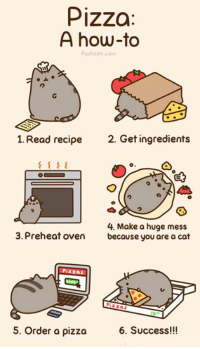 pusheen: Pizza  A how-to  Pusheen.com  1. Read recipe  2. Get ingredients  4. Make a huge mess  3. Preheat oven  because you are a cat  Pizzas  5. Order a pizza  6. Success!!!