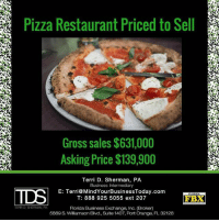 Awesome opportunity: KeepYourEyesOpen Via @mindyourbusinessfl ・・・ Just listed and offered exclusively by Terri D. Sherman, PA (Florida Business Exchange, Inc.): This turnkey pizza restaurant is priced to sell at $139,900! Full menu and beer-wine. Ample seating to accommodate parties of all sizes. Experienced staff and managers in place, but will benefit from an active Owner-Operator. Contact Terri D. Sherman, PA (FBX, Inc.) for NDA 888.925.5055 x 207 MindYourBusinessToday smallbusiness restaurantforsale business businessforsale Florida Jacksonville 904 EatDrinkJax pizzashop: Pizza Restaurant Priced to Sell  Gross sales$631,000  Asking Price $139,900  Terri D. Sherman, PA  Business Intermediary  E: Terri MindYourBusinessToday.com  T: 888 925 5055 ext 207  FBX  TERRD SHERMAN.  PA  Florida Business Exchange, Inc. (Broker)  5889 S. Williamson Blvd., Suite 1407, Port Orange, FL 32128 Awesome opportunity: KeepYourEyesOpen Via @mindyourbusinessfl ・・・ Just listed and offered exclusively by Terri D. Sherman, PA (Florida Business Exchange, Inc.): This turnkey pizza restaurant is priced to sell at $139,900! Full menu and beer-wine. Ample seating to accommodate parties of all sizes. Experienced staff and managers in place, but will benefit from an active Owner-Operator. Contact Terri D. Sherman, PA (FBX, Inc.) for NDA 888.925.5055 x 207 MindYourBusinessToday smallbusiness restaurantforsale business businessforsale Florida Jacksonville 904 EatDrinkJax pizzashop