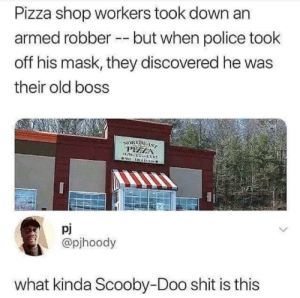 Pizza take down. by lloydyhats MORE MEMES: Pizza shop workers took down an  armed robberbut when police took  off his mask, they discovered he was  their old boss  ORTHE  pj  @pjhoody  what kinda Scooby-Doo shit is this Pizza take down. by lloydyhats MORE MEMES