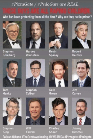 Posted into a Trump 2020 Page.:  #PizzaGate / #PedoGate are REAL.  THESE GUYS ARE AL RAPING CHILDREN.  Who has been protecting them all the time? Why are they not in prison?  Stephen  Spielberg  Harvey  Weinstein  Kevin  Robert  De Niro  Spacey  Tom  Hanks  Stephen  Colbert  Seth  Jim  Green  Carrey  no  Will  Ferrell  Charley  Sheen  Stephen  King  Jimmy  Kimmel  Follow Posted into a Trump 2020 Page.