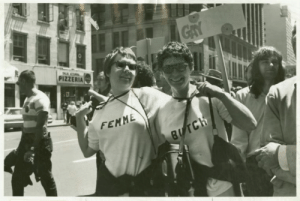 Tumblr, Blog, and Http: PIZZERIA  FEMME lesbianherstorian:  nancy tucker and her partner in butch/femme t-shirts at the first christopher st. liberation day parade, photographed by kay tobin, june 1970