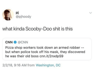 Scooby Doo be doo by _afreen_q_ MORE MEMES: pJ  @pjhoody  what kinda Scooby-Doo shit is this  CNN@CNN  Pizza shop workers took down an armed robber --  but when police took off his mask, they discovered  he was their old boss cnn.it/2nxdpS9  2/2/18, 9:16 AM from Washington, DC Scooby Doo be doo by _afreen_q_ MORE MEMES