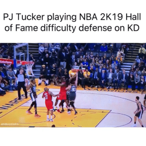 Gotta nerf it smh😂 (Via ‪kingtisemedia‬-Twitter): PJ Tucker playing NBA 2K19 Hall  of Fame difficulty defense on KD  ONBAMEMES Gotta nerf it smh😂 (Via ‪kingtisemedia‬-Twitter)
