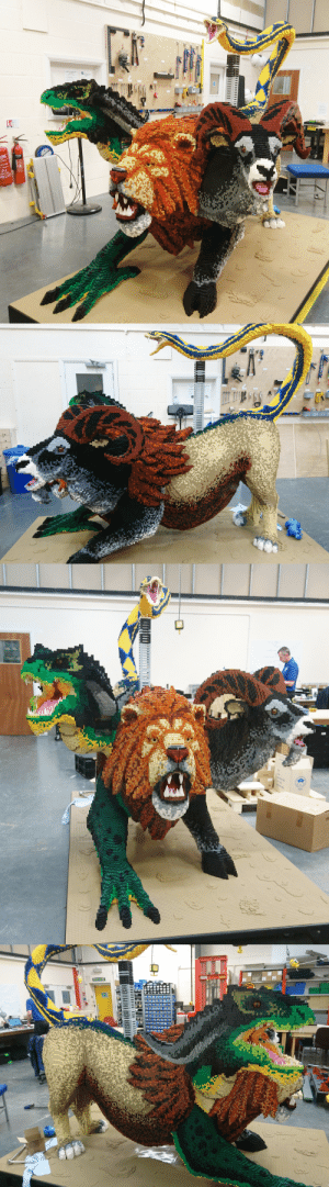 ignigeno:  The chimera I designed for our new LEGO show. I cannot express how much of a labor of love this was. It took over 100 hours just to design, let alone build and is one of the largest and most complex sculptures I've done.  Fun fact: This model used every single LEGO color available in standard brick. : PL1S ignigeno:  The chimera I designed for our new LEGO show. I cannot express how much of a labor of love this was. It took over 100 hours just to design, let alone build and is one of the largest and most complex sculptures I've done.  Fun fact: This model used every single LEGO color available in standard brick.
