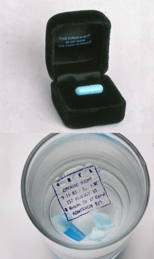 10knotes:Invitation to an Area night club party. The capsule was placed in water and the invitation appeared. Area was open from 1983 to 1987.: PLACE CAPSULE IN  OF HOT WATER  AND ALLOw TO DISSOLVE   COFNING NiGHT  9.15 83-1..。.M  157 HUCSGN ST.  3 Blocks So cf Cansl  ADMISSION $11, 10knotes:Invitation to an Area night club party. The capsule was placed in water and the invitation appeared. Area was open from 1983 to 1987.