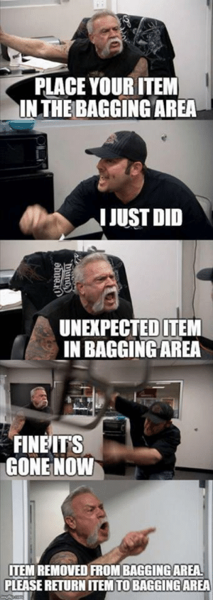 Bagging: PLACE YOUR ITEM  IN THE BAGGING AREA  IJUST DID  UNEXPECTEDITEM  IN BAGGING AREA  FINEITS  GONE NOVW  ITEM REMOVED FROM BAGGING AREA  PLEASE RETURN ITEM TO BAGGING AREA