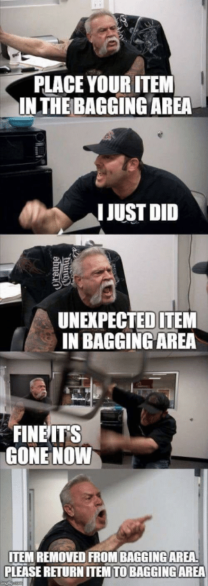 Gone, Did, and Please: PLACE YOUR ITEM  INTHE BAGGING AREA  I JUST DID  UNEXPECTEDITEM  IN BAGGING AREA  FINEITS  GONE NOWW  ITEM REMOVED FROM BAGGINGAREA  PLEASE RETURN ITEM TO BAGGINGAREA Unexpected Item In Bagging Area