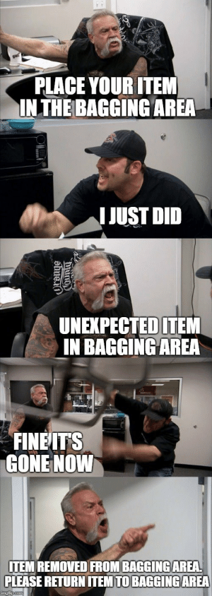 Bagging: PLACE YOUR ITEM  INTHE BAGGING AREA  IJUST DID  UNEXPECTEDITEM  IN BAGGINGAREA  FINEITS  GONE NOWW  ITEM REMOVED FROM BAGGINGAREA  PLEASE RETURN ITEM TO BAGGINGAREA