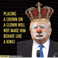 Memes, Clowns, and 🤖: PLACING  A CROWN ON  A CLOWN WILL  NOT MAKE HIM  BEHAVE LIKE  A KING!  OCCUPY DEMOCRATS Truth.  Image by Occupy Democrats, LIKE our page for more!