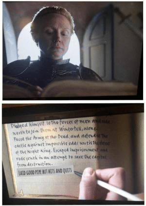 Best Game of Thrones Memes That Are Hilarious (48 Pics)-12: Pladged himself to the forces of men adde  wovth to join them nt Wintertel, alone  Faced the Avwy ot The Dead,awd defend The  otie agaiwst impossible odds uutilhedreat  of tie Nigt king. Escaped impvisonment  Yode (uth in an  from destrwction.  LAID GOOD PIPE BUT HITS AND QUITS  attempt to save fhe capital Best Game of Thrones Memes That Are Hilarious (48 Pics)-12