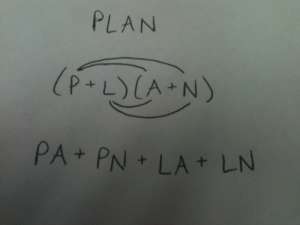 breathe-sustain:  yourpointofviewismedieval:  kselig:  Your plan has now been foiled. MWAHAHA  MATH HUMOR IS THE BEST.  I hate everything : PLAN  (P+L)(A+N)  PA+ PN + LA + LN breathe-sustain:  yourpointofviewismedieval:  kselig:  Your plan has now been foiled. MWAHAHA  MATH HUMOR IS THE BEST.  I hate everything