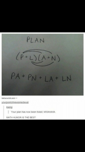 Cheezburger com Crafted from the finest Internets - humor: PLAN  (P-LCA N)  PA+ PN LA LN  kselia.tumblr.com  yourpointofviewismedieval  kselig  Your plan has now been foiled MWAHAHA  MATH HUMOR IS THE BEST Cheezburger com Crafted from the finest Internets - humor