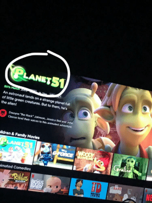"Family, Movies, and Reddit: PLANETS1  85% Match 200  An astronaut lands on a strange planet full  of little green creatures. But to them, he's  the alien!  Dwayne ""the Rock"" Johnson, Jessica Biel and John  Cleese lend their voices to this animated adventure.  he ind  ildren & Family Movies  PLANETS1  GFORCENOODY  Gralns  imated Comedies  Rabiles  BARE  NE  AR  PAB  DRAMA  SA US Coincidence? I think not"