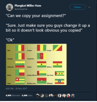 "Africa, Blackpeopletwitter, and Lost: Plangkat Miller-Ham  @peekaymila  Follow  ""Can we copy your assignment?""  ""Sure. Just make sure you quvs change it up a  bit so it doesn't look obvious you copied""  ""Ok""  Mali  Guinea  Congo  Senegal  囧  Lithuania  Ghana  Bolivla  Benin  Guinea-Bissau  Sao Tome  Togo  Burkina Faso  Ethiopla  6:02 PM-28 Nov 2017  6,965 Retweets 4,466 Likes <p>Vexillogy is a lost art in Africa (via /r/BlackPeopleTwitter)</p>"