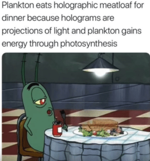 Energy, Tumblr, and Blog: Plankton eats holographic meatloaf for  dinner because holograms are  projections of light and plankton gains  energy through photosynthesis melonmemes:  Hmm?