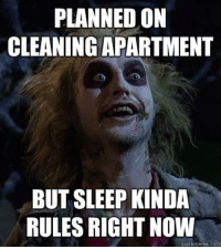 Quick Meme: PLANNED ON  CLEANING APARTMENT  BUT SLEEP KINDA  RULES RIGHT NOW  quick meme com