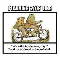"""Memes, Bicycle, and 🤖: PLANNING 2019 LIKE  """"We will bicycle everyday!""""  Toad proclaimed as he pedaled. Who successful wasted the fourth day of 2019? 👷@9gagmobile FrogandToadAreFriends"""