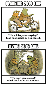 "God, Bicycle, and Living: PLANNING 2019 LIKE  ""We will bicycle everyday!""  Toad proclaimed as he pedaled.  9)  LIVING 2019 LIKE  ""We must stop eating!""  cried Toad as he ate another. Man plans. God laughs."