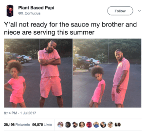 They definitely got the sauce: Plant Based Papi  @X Confucius  Follow  Y'all not ready for the sauce my brother and  niece are serving this summer  8:14 PM-1 Jul 2017  28,198 Retweets 96,575 Likes | @ 3  @1睿Ø嗉GO They definitely got the sauce