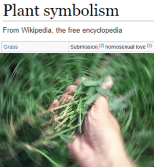 symbolism: Plant symbolism  From Wikipedia, the free encyclopedia   Grass  Submission,12] homosexual love [3