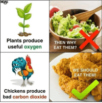 Bad, Oxygen, and Carbon: Plants produce  useful oxygen  THEN WHY  E  EAT THEM?  WE SHOULD  EAT THEM!  Chickens produce  bad carbon dioxide Checkmate