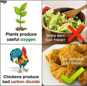Bad, Logic, and Love: Plants produce  useful oxygen  THEN WHY  E  EAT THEM?  WE SHOULD  EAT THEM!  Chickens produce  bad carbon dioxide glonkworld:  sappyassmemes:i love logic I mean…Humans produce carbon dioxide too…So… What you're saying isThat we should  eat humans.  i mean it would solve both world hunger and overpopulation