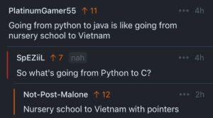 Post Malone, School, and Java: PlatinumGamer55 111  4h  Going from python to java is like going from  nursery school to Vietnam  SPEZIIL7 nah  4h  So what's going from Python to C?  Not-Post-Malone 1 12  2h  Nursery school to Vietnam with pointers Going from Python to C