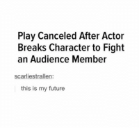 hey dudes: Play Canceled After Actor  Breaks Character to Fight  an Audience Member  scarliestrallen:  this is my future hey dudes
