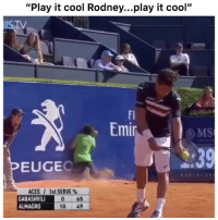 "Funny, Cool, and Play: ""Play it cool Rodney...play it cool""  TV  FI  Emir  EUGEC  ACES / 1st SERVE%  GABASHVIL  ALMAGRO  0 65  10 49 That recovery💀💀💀💀"