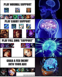 "Memes, 🤖, and Play: PLAY NORMAL SUPPORT  PLAY CARRY SUPPORT  PLAY FULL DMG ""SUPPORT""  GRAB A FED ENEMY  INTO YOUR ADC xd  = LeagueMemes ft. Wingolos =  C: Fredriks"