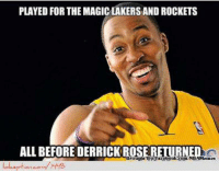 Dwight Howard: Magic Nation, LakeShow, & Rockets Nation Before D-Rose! Credit: Mouner Saab  http://www.lolception.com/1448: PLAYED FOR THE MAGIC LAKERS AND ROCKETS  ALLBEFORE DERRICK RO  Brought  aceboolaycom/NB Dwight Howard: Magic Nation, LakeShow, & Rockets Nation Before D-Rose! Credit: Mouner Saab  http://www.lolception.com/1448