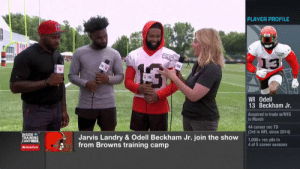 God, Memes, and Nfl: PLAYER PROFILE  13  WR Odell  13 Beckham Jr.  Acquired in trade w/NYG  in March  44 career rec TD  (3rd in NFL since 2014)  INSIDE  TRAINING  CAMPLIVE  Jarvis Landry & Odell Beckham Jr. join the show  from Browns training camp  1,000+ rec yds in  4 of 5 career seasons  AState Farm People are already doubling @obj and leaving @God_Son80 open. This duo's going to be a PROBLEM. #NFLTrainingCamp  📺: Live NOW on @NFLNetwork https://t.co/YFY39X787b
