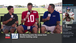 """""""Retirement doesn't sound fun to me.""""  Now in his 16th #NFLTrainingCamp, Eli's full steam ahead.  📺: @nflnetwork https://t.co/6ikhSzdRUH: PLAYER PROFILE  A0  QB Eli  10 Manning  Entering final year  of contract  Won 2 Super Bowls  with Giants (XLII, XLVI)  nU  INSIDE  TRAINING  CAMPLIVE  Eli Manning joins the show from  Giants training camp  4,299 pass yds, 21 TD,  11 INT in 2018  AStateFarm """"Retirement doesn't sound fun to me.""""  Now in his 16th #NFLTrainingCamp, Eli's full steam ahead.  📺: @nflnetwork https://t.co/6ikhSzdRUH"""