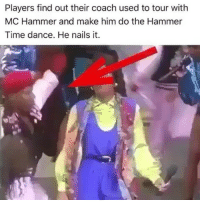 😂😂 Okay coach.. funniest15 viralcypher funnies15seconds: Players find out their coach used to tour with  MC Hammer and make him do the Hammer  Time dance. He nails it. 😂😂 Okay coach.. funniest15 viralcypher funnies15seconds