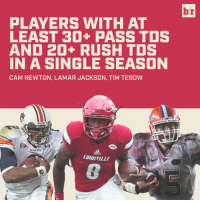 Lamar Jackson joins an elite group after his monster season.: PLAYERS WITH AT  LEAST 30+ PASS TDS  AND 20+ RUSH TDS  IN A SINGLE SEASON  CAM NEWTON, LAMAR JACKSON, TIM TEBOW  ACC  AUBURN  aaalas  LOUISVILLE  br Lamar Jackson joins an elite group after his monster season.