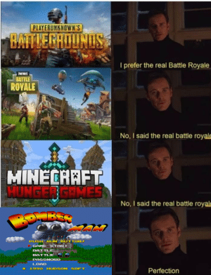 The Hunger Games, Games, and The Real: PLAYERUNKNOWN'S  I prefer the real Battle Royale  BATTLE  ROVALE  No, I said the real battle royale  HINECAAFT  HUNGER GAMES  No, I said the real battle royale  PUSH  RU  TON  SAMES TART  BATTLE  BATTLE  PASSHOR  LOAD  1990 HUDSON SOFT  Perfection How did nobody notice this?
