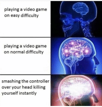playing a video game  on easy difficulty  playing a video game  on normal difficulty  smashing the controller  over your head killing  yourself instantly zoinks